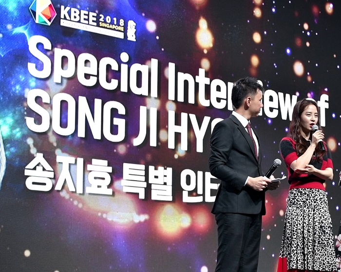 Emcee Lester Leo hosting Korean actress celebrity Song Ji Hyo