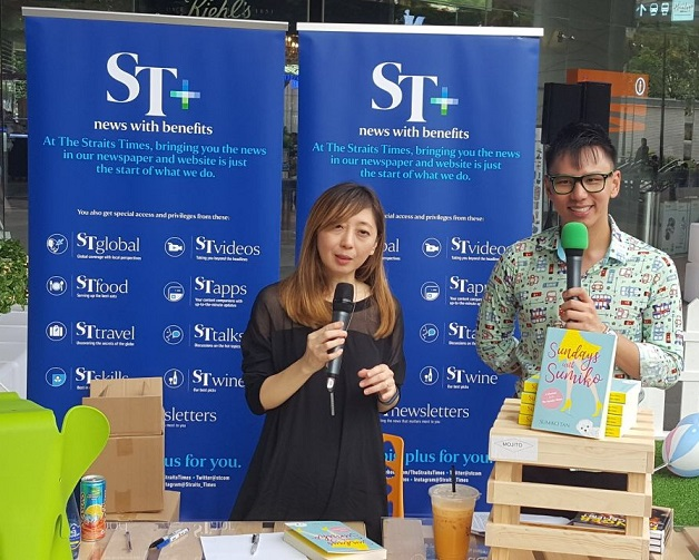 Emcee Lester with Celebrity - Straits Times Sumiko Tan
