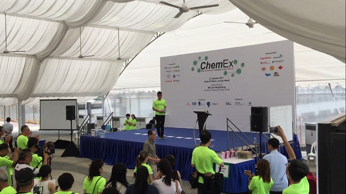 ChemEx with Minister for Trade Lim Hng Kiang with Emcee Lester Leo