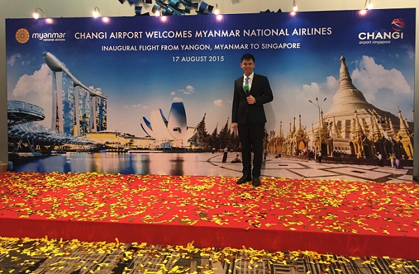 Myanmar National Airlines Inaugural flight with Myanmar Minister of Transport U Han Sein and Emcee Lester