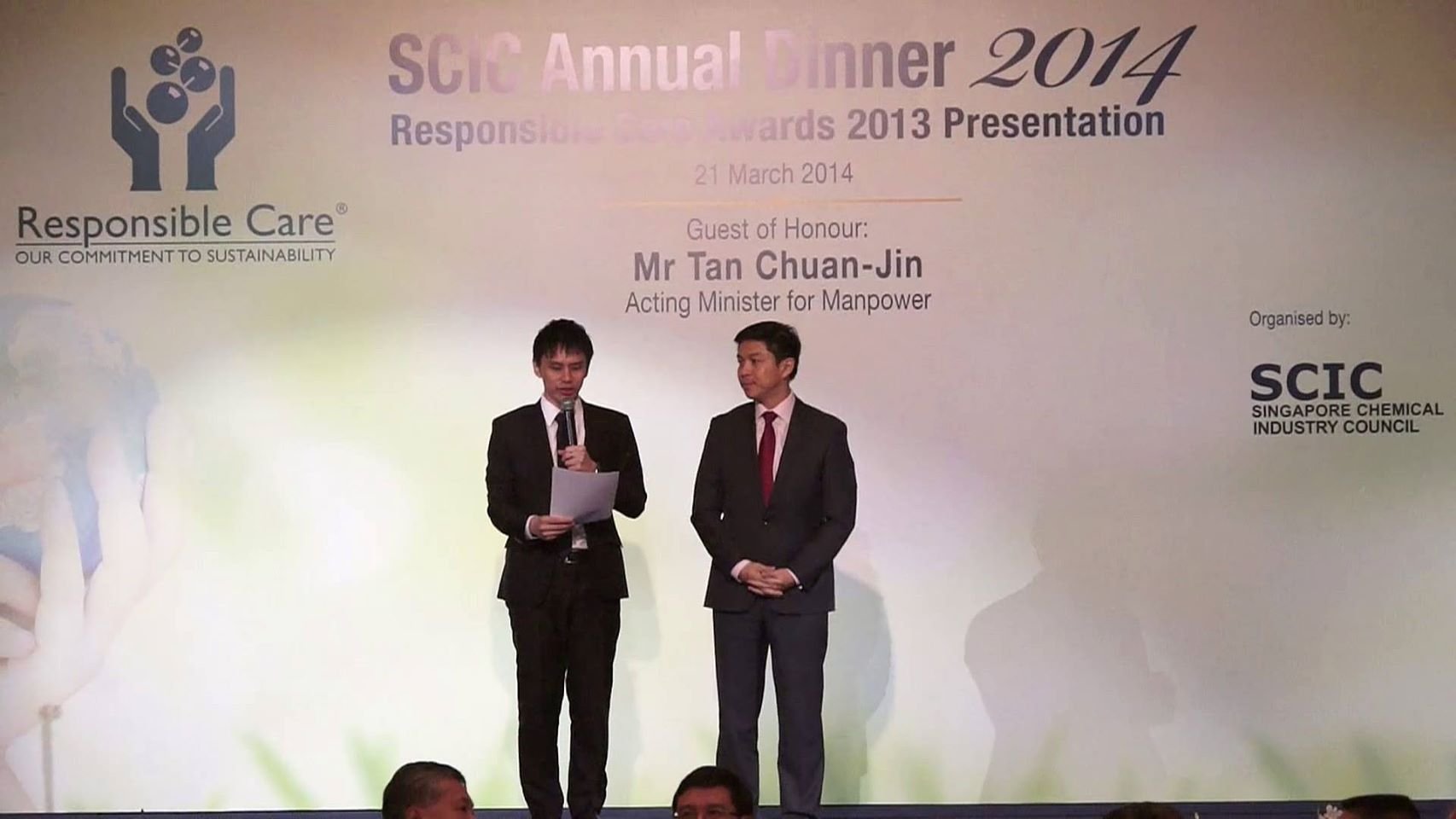 Singapore Chemical Industry Awards with Minister Tan Chuan Jin and Emcee Lester