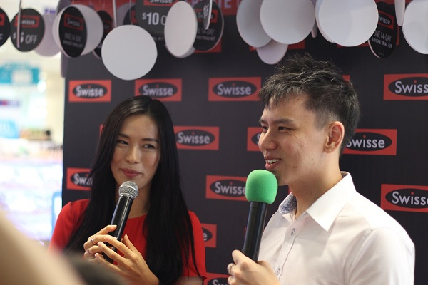 Event Host Singapore Lester with celebrity Rebecca Lim