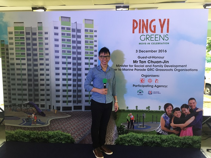 HDB move in celebration with emcee lester leo