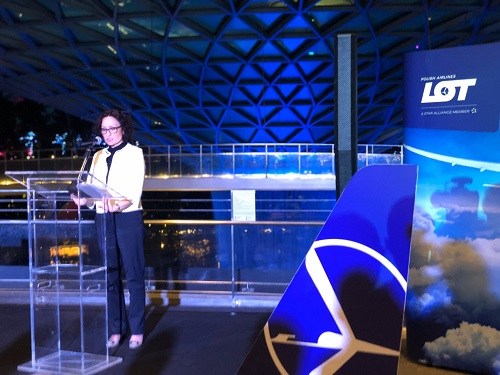 Lot polish airlines 90th anniversary with Her Excellency Magdalena Bogdziewicz speech