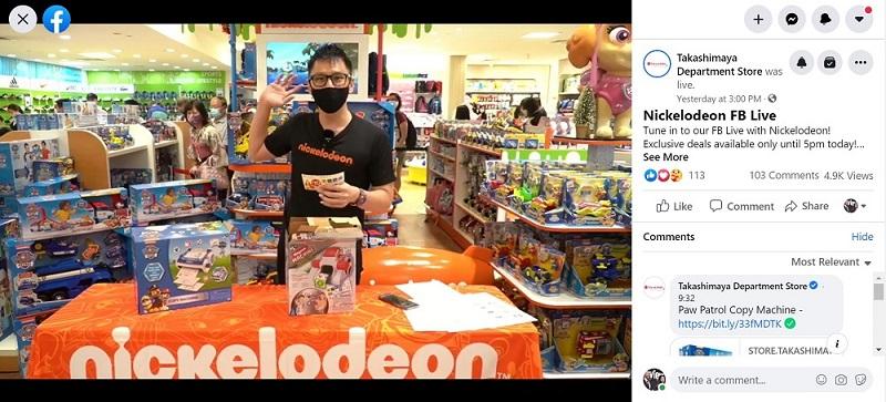Takashimaya x Nickelodeon FB live sales emcee singapore lester