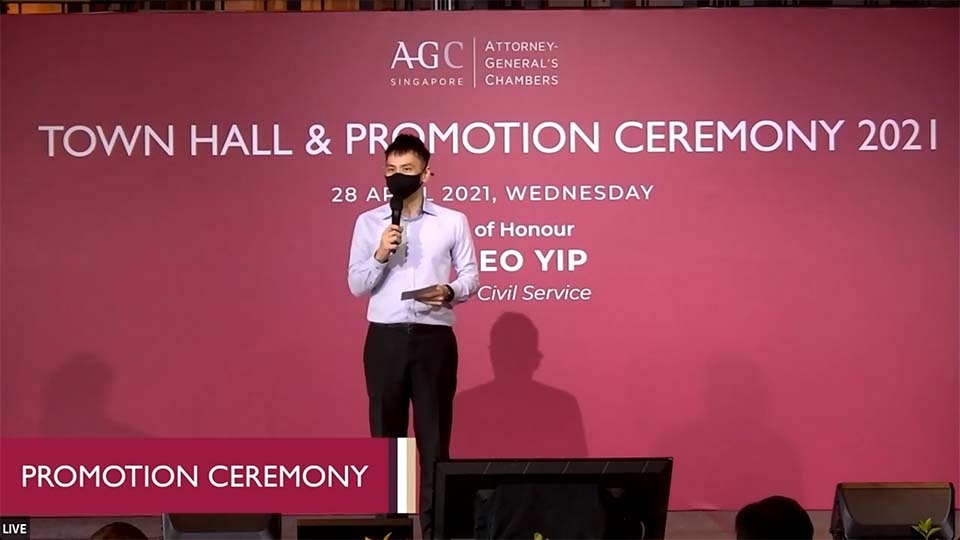 AGC townhall and promotion ceremony hybrid event emcee lester