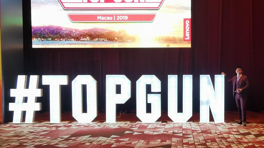 Lenovo top gun in Macau - emcee lester leo